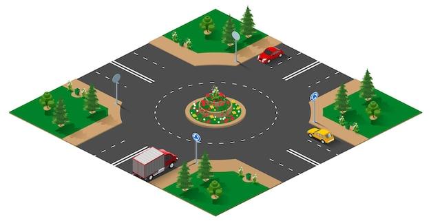 Kreisverkehr isometrische 3d-illustration isoliert