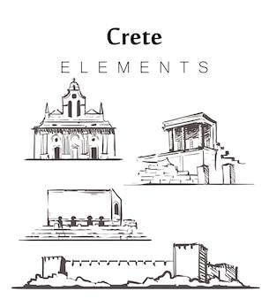 Kreta stellte skizzengebäude lokalisiert auf weiß ein