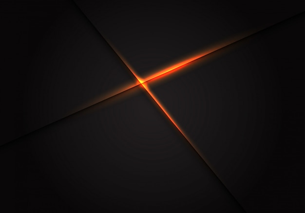 Kreuz des orange lichtes auf dunklem leerstellehintergrund.