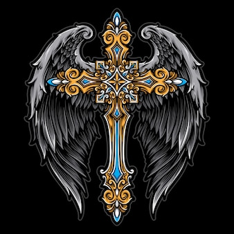 Kreuz mit engelsflügeln