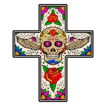 Kreuz mit geflügeltem zuckerschädel lokalisiert auf weißem hintergrund. tag der toten. illustration.