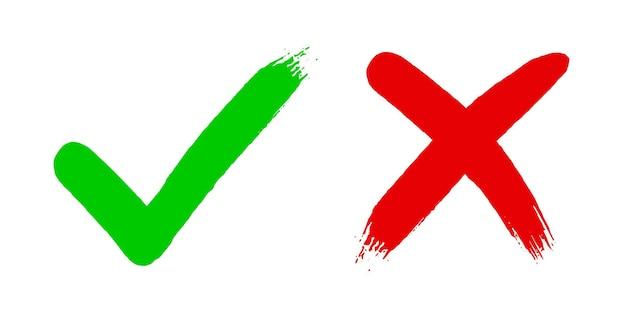 Kreuz x und häkchen v ok häkchen vektor-illustration isoliert auf weißem hintergrund