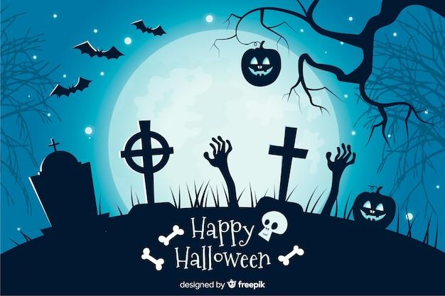 Kreuze in einem flachen halloween-hintergrund des kirchhofs