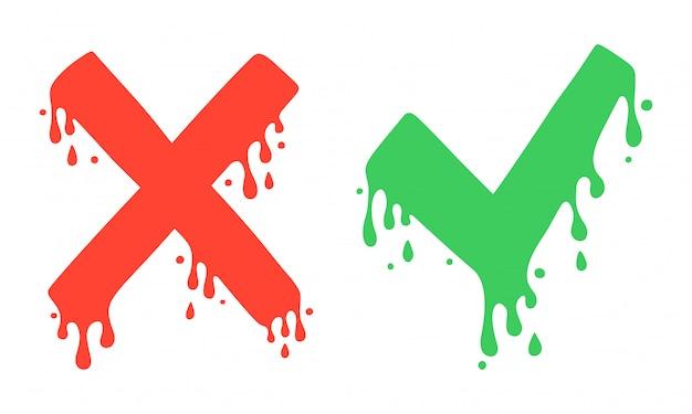 Kreuzen und häkchen, x- und v-symbole. nein- und ja-symbole, abstimmung und entscheidung. vektor-bild. cartoon-stil, flüssigkeit tropft.