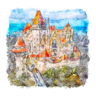 Kreuzenstein schloss österreich aquarell skizze hand gezeichnete illustration