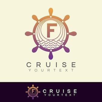 Kreuzfahrt anfangsbuchstabe f logo design