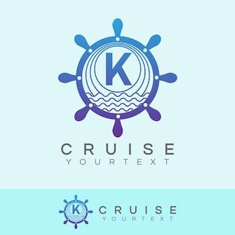 Kreuzfahrt anfangsbuchstabe k logo design