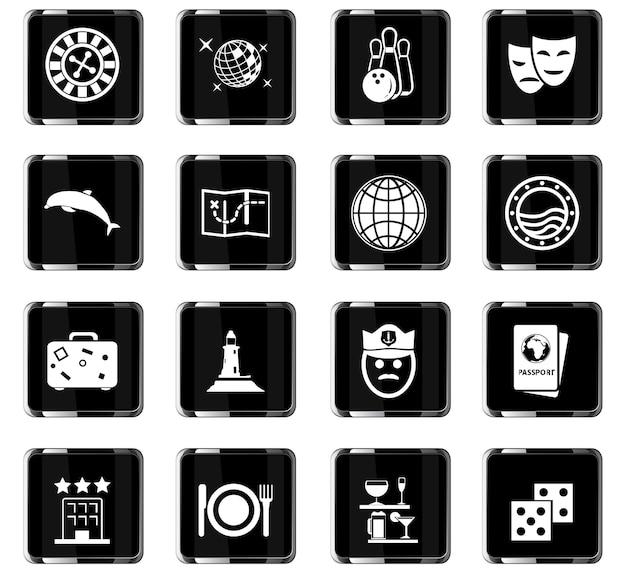 Kreuzfahrt-vektorsymbole für das design der benutzeroberfläche