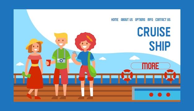 Kreuzfahrtschiff schiff reise banner webdesign illustration. familienmitglieder stehen auf dem schiff. tourist in den sommerferien. ausruhen, im meer entspannen. mann mit getränk und kamera, frau mit tasche.