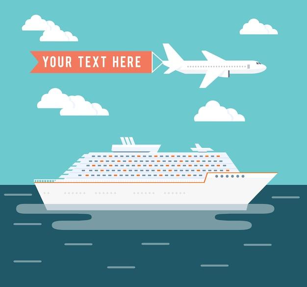 Kreuzfahrtschiff und flugzeugreisevektorillustration mit einem großen passagierkreuzfahrtschiff auf einer reise über den ozean in einem tropischen sommerurlaub und einem flugzeug, das über kopf mit copyspace für text fliegt