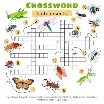 Kreuzworträtsel für süße insekten. arbeitsblatt für vorschulkinder