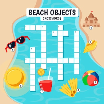 Kreuzworträtsel in englisch für kinder mit strandelementen