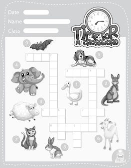 Kreuzworträtsel-spielvorlage über tiere