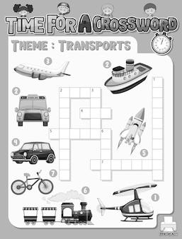 Kreuzworträtsel-spielvorlage zum thema transport