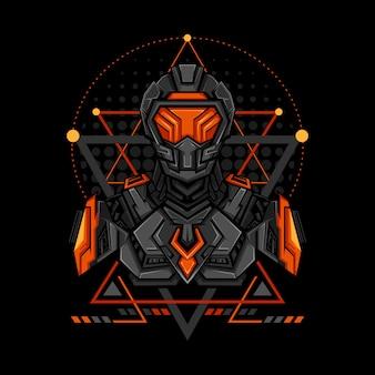 Krieg cyborg geometrie-stil