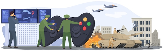 Krieg, militärarmee, soldatenschlacht, angriff von luft- und bodentruppen, panzertruppe, flugplanillustration.