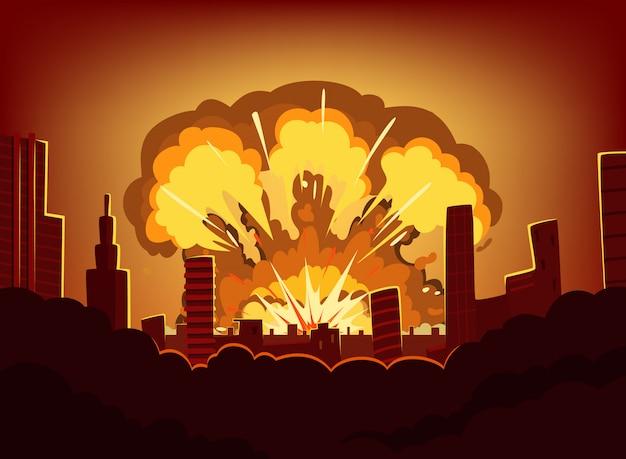 Krieg und schäden nach großer explosion in der stadt. monochrome stadtlandschaft mit brand himmel nach atombombe. radioaktives armageddon, vektorillustration