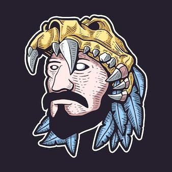 Krieger, der schädel-helm-illustration trägt