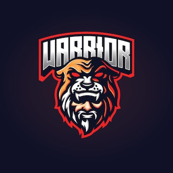 Krieger-maskottchen-esport-logo-design