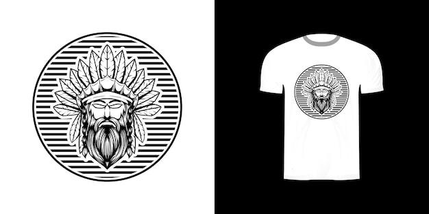 Kriegerillustration für t-shirt design