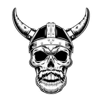 Kriegerschädel in gehörntem helmvektorillustration. monochromer wikinger-kopf mit schnurrbart