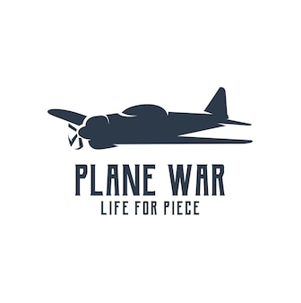 Kriegsflugzeug-silhouette-logo retro-vintage