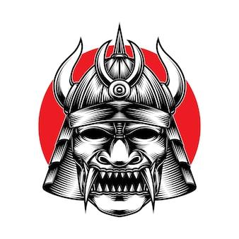 Kriegshelm des gruseligen samurai-kriegers