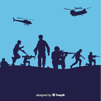 Kriegshintergrund mit silhouetten von soldaten