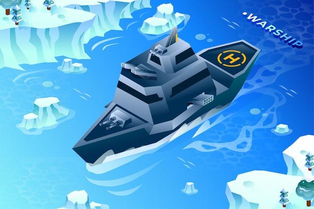 Kriegsschiff militär - isometrische illustration
