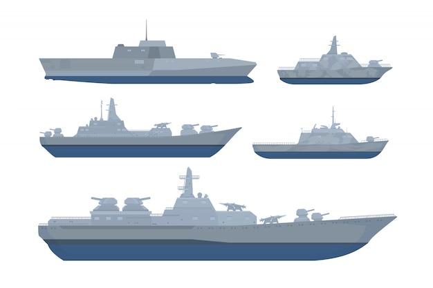 Kriegsschiffsetsammlung mit verschiedenen modellen und größen im modernen stil