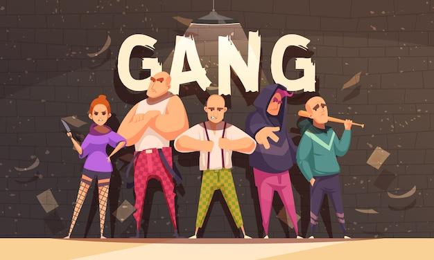 Kriminelle bande in aggressiver haltung