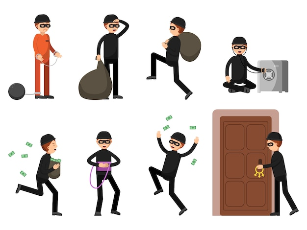 Kriminelle figuren in verschiedenen aktionshaltungen