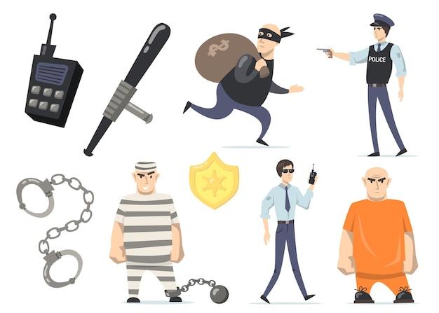 Kriminelle und polizisten setzen ein. einbrecher mit geld, gefangene in orangefarbenen oder gestreiften uniformen, gefängnissicherheit, polizist mit waffe. isolierte vektorillustrationen für verbrechen und gerechtigkeit