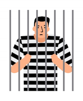 Krimineller mann im gefängnis Premium Vektoren