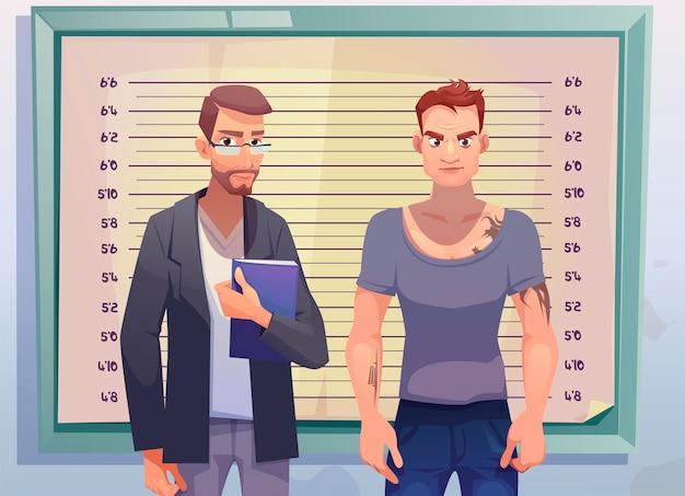 Krimineller und anwalt auf höhenmessskala