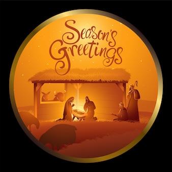 Krippe der heiligen familie im stall im kreisrahmen für weihnachtsthema