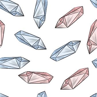 Kristall kritzelt nahtloses muster. nette karikaturquarz-amethysttapete. gemütliche boho-stil hintergrund fliese