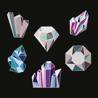 Kristall sechs edelsteine luxusikonen