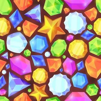 Kristalle färben nahtloses muster. glänzender schmuck von verschiedenen geometrischen formen schöne bildschirmschoner tapete blaue diamanten orange saphire grün smaragde lebendige reiche mobile oberfläche.