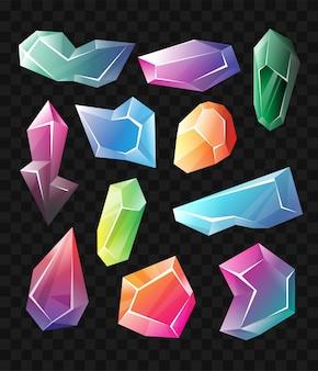 Kristalle - realistischer moderner vektorsatz unterschiedlicher formmineralien. schwarzer hintergrund. verwenden sie diese hochwertige clipart für präsentationen, banner und flyer. blaue, grüne und violette preise, token, chips