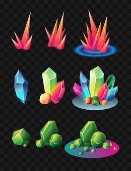 Kristalle - realistischer moderner vektorsatz verschiedener mineralien. schwarzer hintergrund. verwenden sie diese hochwertige clipart für präsentationen, banner und flyer. blaue, grüne und rote preise, jetons, chips