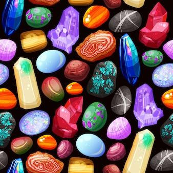 Kristalle steine schaukelt nahtloses muster