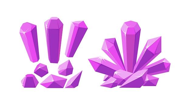 Kristalle und edelsteine in verschiedenen formen set aus rosa stalagmit-kristallen und gesteinsstücken