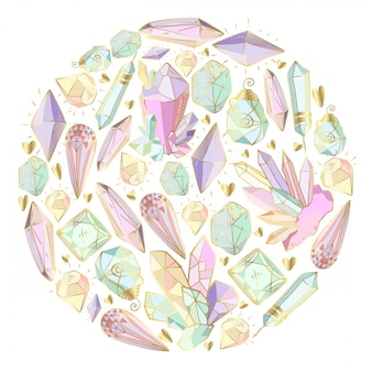 Kristalle und edelsteine, rundes element