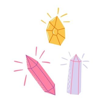Kristalle und mineralien-set