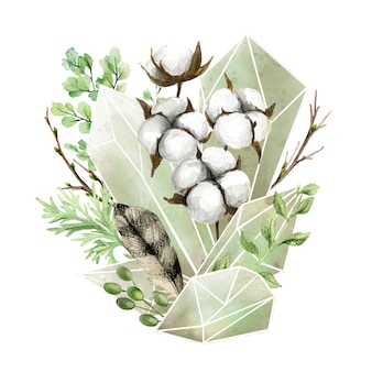 Kristalledelsteine mit botanischen elementen, vollfarbiger dekorativer kunst, niedliche komposition, handgezeichnete aquarellillustration