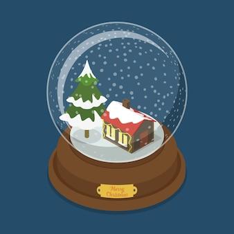 Kristallkugel frohe weihnachten flache isometrie isometrische web-illustration schneetanne baum haus fenster lichter winterurlaub postkarte banner vorlage