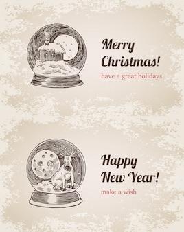 Kristallkugelhauselchweinlese-vektorillustrationssatz. gezeichneter stich des guten rutsch ins neue jahr und der frohen weihnachten hand