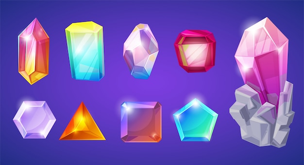 Kristallstein kristallstein edelstein und edelstein für schmuck illustration satz von juwel oder mineral stein kristallisation von natürlichem quarz auf hintergrund isoliert
