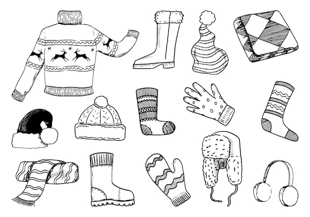 Kritzeleien mit gemütlicher winterkleidung. pullover, schuhe, handschuhe, handschuhe, mützen, schal, socken. handgezeichnete vektorillustrationen-sammlung. schwarze umrisselemente isoliert auf weiss für weihnachtsdesign.